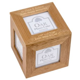 Personalised Oak Photo Cube Product Image