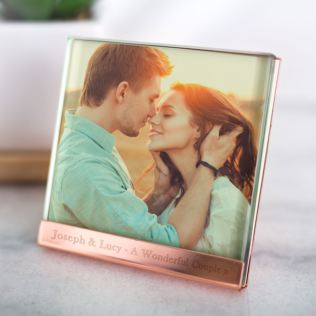 Personalised Copper Plated & Glass Photo Frame 4 x 4 Product Image
