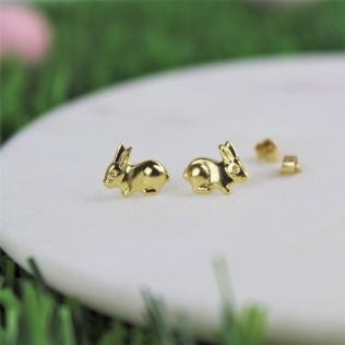 Gold Bunny Earrings In Personalised Box Product Image