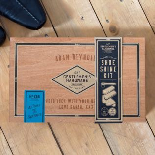 Personalised Shoe Shine Kit In Engraved Cigar Box Product Image