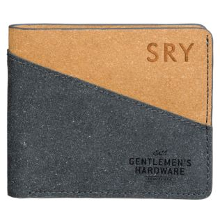 Personalised Bi-Fold Recycled Black and Tan Leather Wallet Product Image