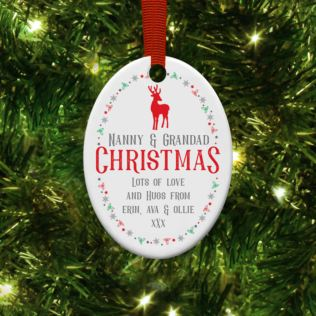 Personalised Christmas Oval Hanging Ornament Product Image