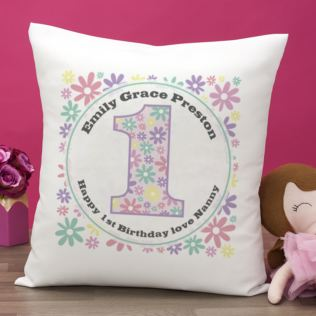 Personalised Girls 1st Birthday Cushion Product Image
