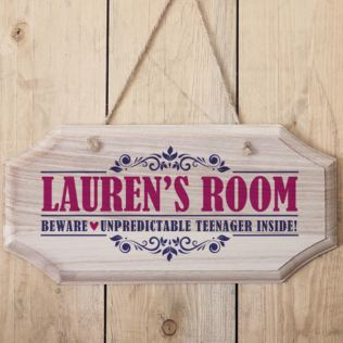 Personalised Girls Name Hanging Wooden Sign Product Image