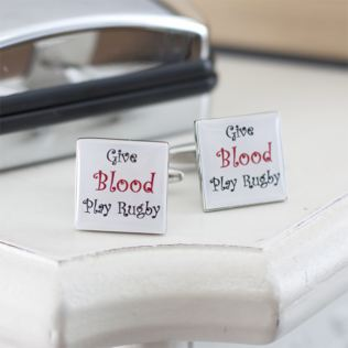 Give Blood Play Rugby Cufflinks in Personalised Box Product Image