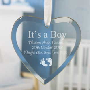 It's a Boy Personalised Glass Heart Product Image