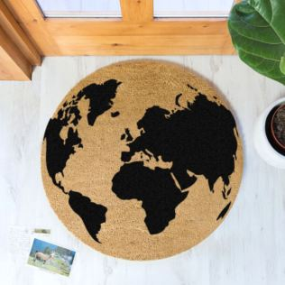 World Map Black Globe Circle Doormat Product Image