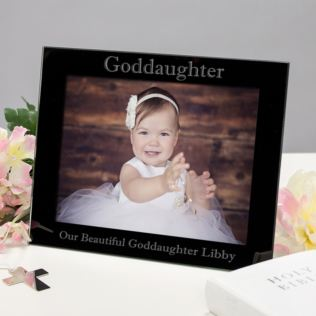 Personalised Goddaughter Black Glass Photo Frame Product Image
