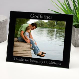 Personalised Godfather Black Glass Photo Frame Product Image