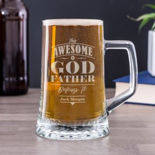 Personalised Godfather Glass Beer Tankard Product Image