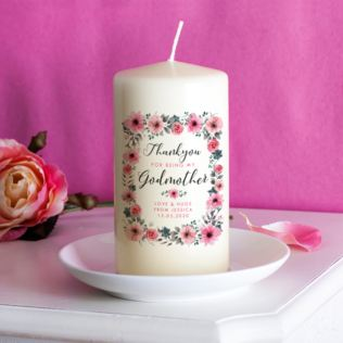 Personalised Godmother Floral Design Candle Product Image