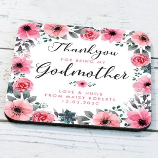 Personalised Godmother Floral Design Coaster Product Image