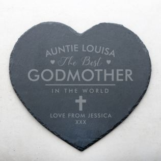 Personalised Godmother Slate Heart Coaster Product Image