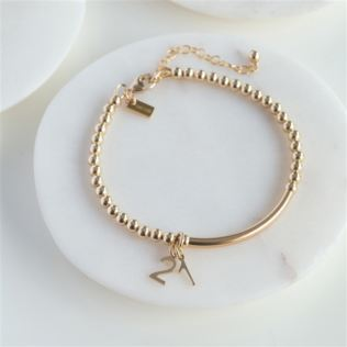 Gold 21st Beaded Lobster Clasp Bracelet with Personalised Box Product Image