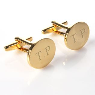 Engraved Gold Plated Cufflinks With Personalised Gift Box Product Image