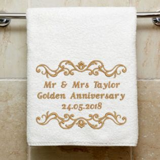 Personalised Embroidered Golden Anniversary Towel Product Image