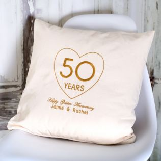 Personalised Embroidered Golden Wedding Anniversary Cushion Product Image