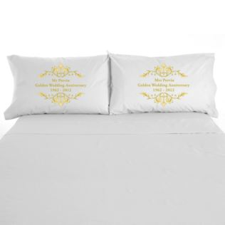 Personalised Golden Anniversary Pillowcases Product Image