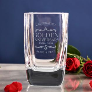 Personalised Golden Wedding Anniversary Glass Vase Product Image