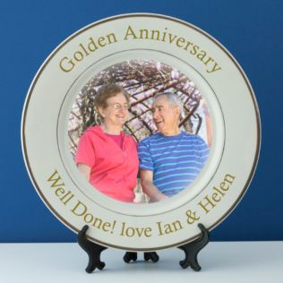 Personalised Golden Wedding Anniversary Photo Plate Product Image