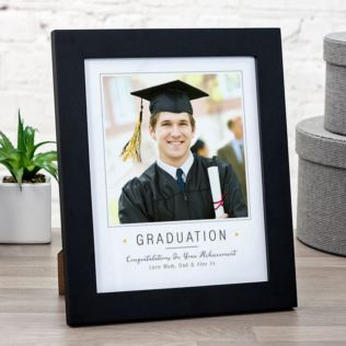 Personalised Graduation Photo Print In Black Wooden Frame Product Image