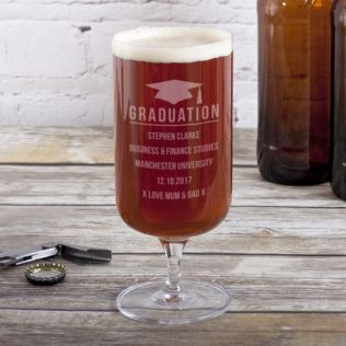 Personalised Graduation Footed Beer Glass Product Image