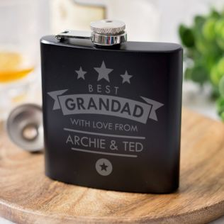 Personalised Grandad Black Hip Flask Product Image