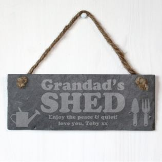 Grandad's Shed Personalised Slate Plaque Product Image