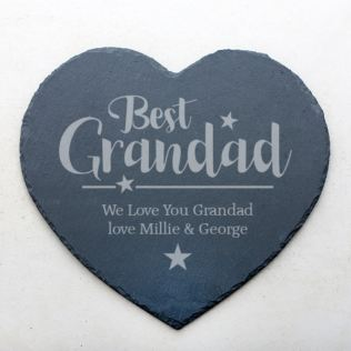 Personalised Best Grandad Slate Heart Coaster Product Image
