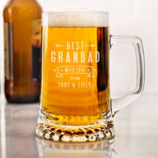 Personalised Best Grandad Glass Tankard Product Image