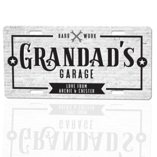 Personalised Grandad's Garage Licence Plate Plaque Product Image