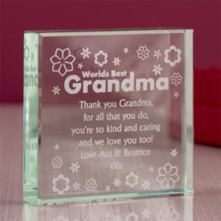 Personalised Worlds Best Grandma Glass Keepsake Product Image