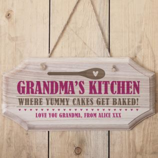 Personalised Grandma's Kitchen Hanging Wooden Sign Product Image