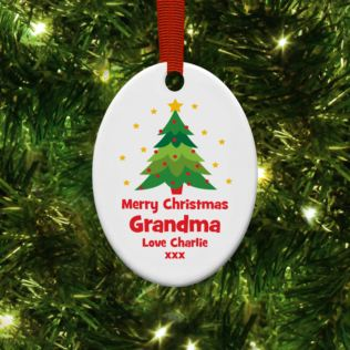 Personalised Grandma Oval Hanging Christmas Ornament Product Image