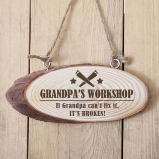 Personalised Grandparent Workshop Wooden Hanging Plaque Product Image