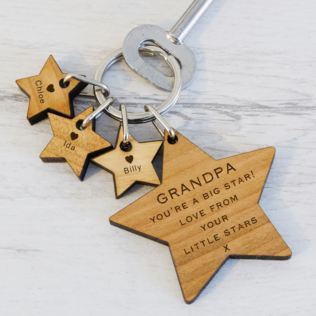 Grandpa's Little Stars Wooden Keyring Product Image