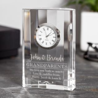 Engraved Grandparents Crystal Mantel Clock Product Image
