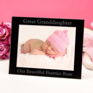 Personalised Great Granddaughter Black Glass Photo Frame Product Image