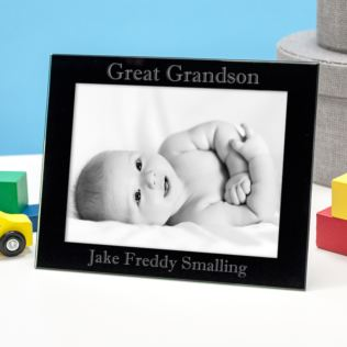 Personalised Great Grandson Black Glass Photo Frame Product Image