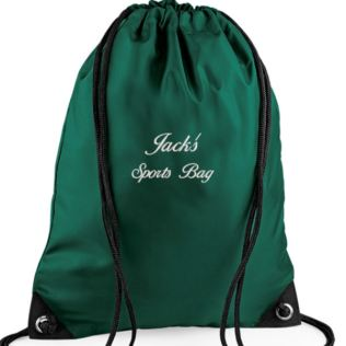 Personalised Embroidered Green Gym/PE/Swim Kit Bag Product Image