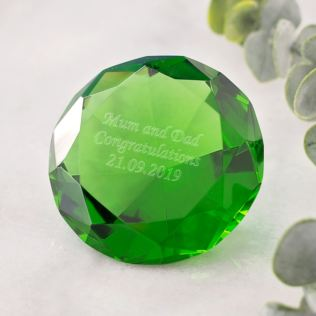 Personalised Optical Crystal Green Diamond Paperweight Product Image