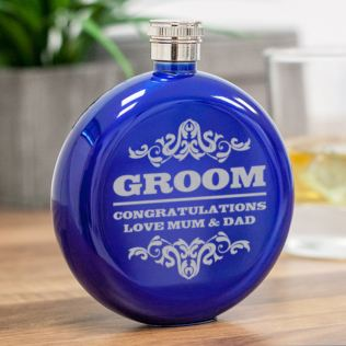 Personalised Groom Round Blue Stainless Steel Hipflask Product Image