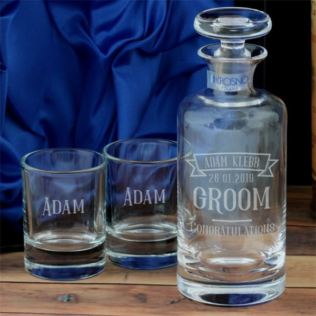 Personalised Groom Decanter And Two Tots Product Image