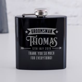 Personalised Groomsman Black Hip Flask Product Image
