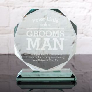 Personalised Groomsman Glass Octagon Award Product Image