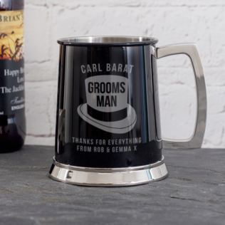 Personalised Groomsman Black Tankard Product Image