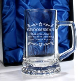 Personalised Groomsman Glass Stern Tankard Product Image