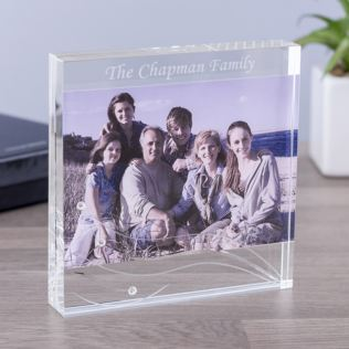 Personalised Dartington Glitz Glass Block Photo Frame Product Image