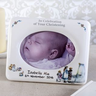 Personalised Heron China Christening Photo Frame Product Image