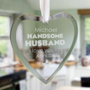 Handsome Husband Personalised Glass Hanging Ornament Product Image